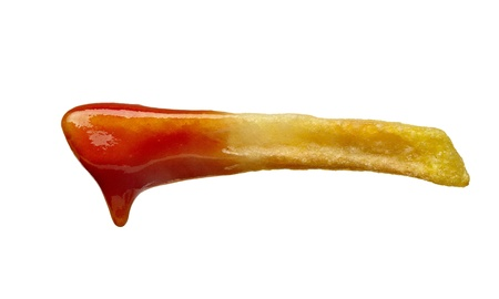 tomato catsup: close up of french fries and ketchup on white background Stock Photo