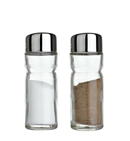 salt pepper: close up of  salt and pepper on white background Stock Photo