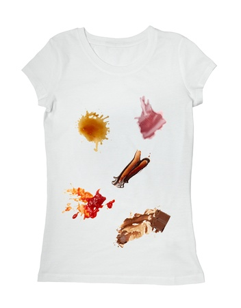 messy clothes: collection of various food stains from ketchup, chocolate, coffee and wine on white t shirt