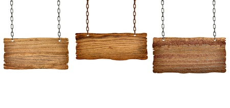 warning notice: collection of  various wooden signs with chain on white background. each one is shot separately