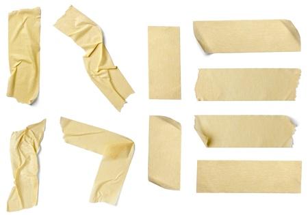 ?tapes: collection de divers morceaux de ruban adh�sif sur fond blanc. chacun d'eux est abattu s�par�ment Banque d'images