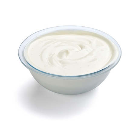 cream: close up of sour cream or beauty cream on white background