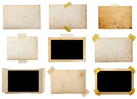 bordure vieille photo: collection de vieilles photos diff�rentes sur fond blanc. chacun d'eux est abattu s�par�ment