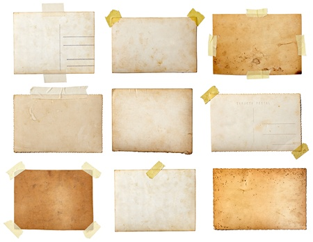 note card: collection of various  old photos on white background. each one is shot separately Stock Photo