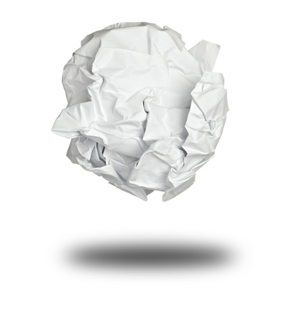 throw away: close up of a paper ball on white background