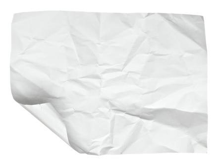 close up of  a crumpled paper with curled edge on white background photo