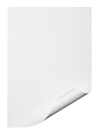 paper curl: cerca de un documento con borde rizado sobre fondo blanco