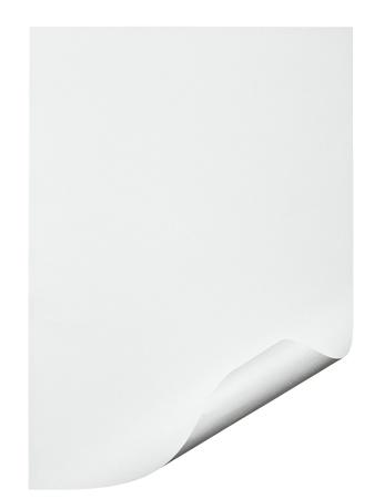 curled edges: stretta di un carta con bordo arricciato su sfondo bianco