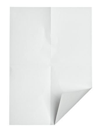 fold: close up of  a crumpled paper with curled edge on white background