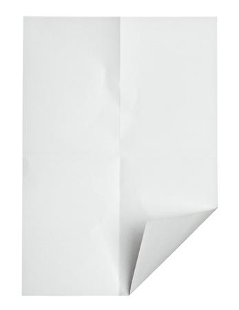 close up of a zerknittertes Papier gelockt Rand auf weißem Hintergrund