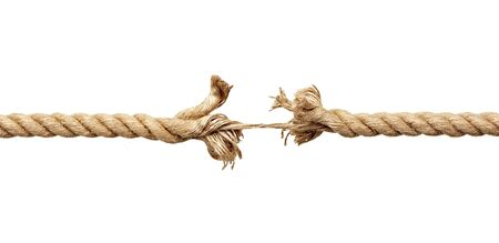 frayed: close up  of a damaged rope on white background