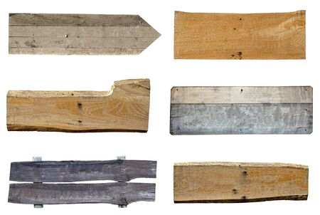 wooden plaque: collection of various  empty wooden sign on white background. each one is shot separately