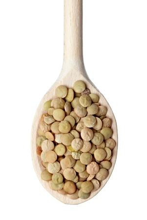 close up of lentil in wooden spoon on white background with clipping path Stock Photo - 10386003