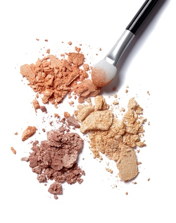 eyeshadow: close up of  a make up powder on white background