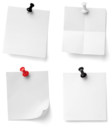 drawing pins: collection of various note papers with push pins on white background. each one is shot separately Stock Photo