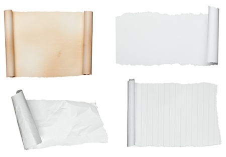 scrolled: collection of various scroll paper on white background. each one is shot separately Stock Photo