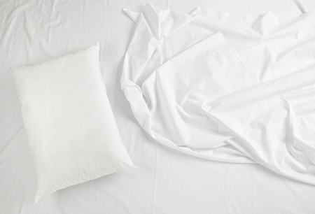 bed linen: close up of bedding sheets and pillow