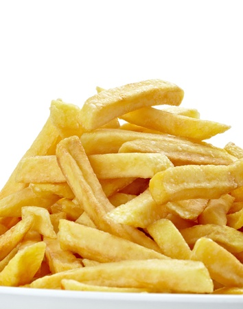 close up of french fries on white background with clipping path photo