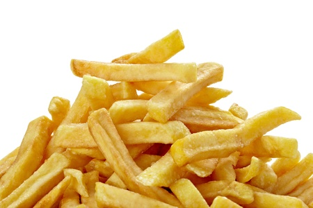 chips: close up of french fries on white background with clipping path