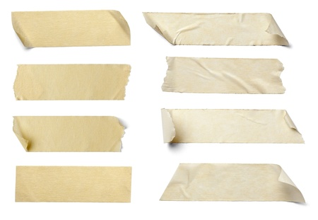 collection of  various adhesive tape pieces on  white background. each one is shot separately Stock Photo - 10511572