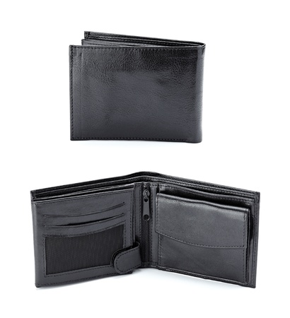 collection of various black leather wallets on white background  photo