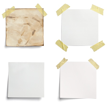message pad: collection of various  note papers on white background. each one is shot separately