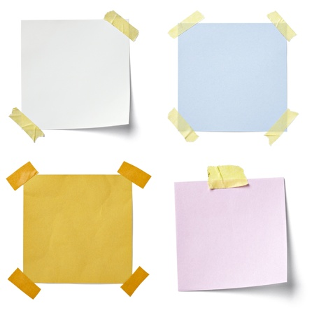 collection of various  note papers on white background. each one is shot separately photo