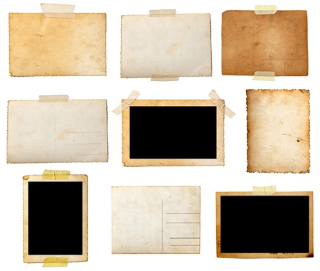 old photo border: collection of various  old photos on white background. each one is shot separately Stock Photo