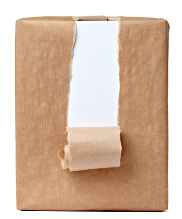 close up of a ripped wrapped box on white background Stock Photo - 10511471