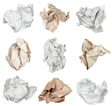 useless: collection of various paper ball on white background. each one is shot separately Stock Photo