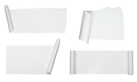 collection of  various scroll paper on white background. each one is shot separately photo