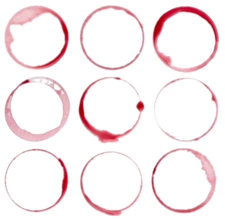 wine bar: collection of  various wine stains on  white background. each one is shot separately