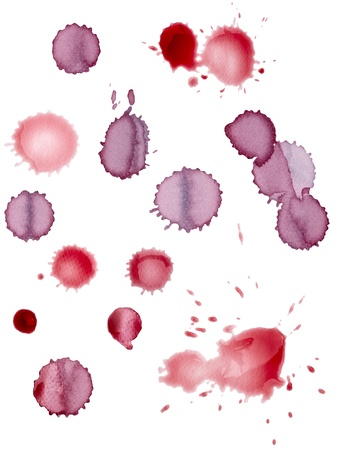 collection of various wine stains on white background. each one is shot separately