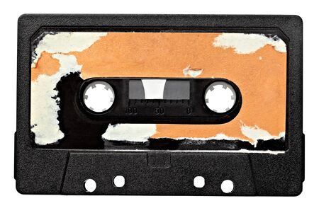 cassette tape: close up of vintage audio tape on white background with clipping path