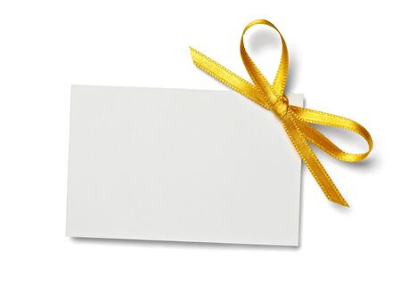 wrappings: close up of  card note with  ribbon on white background  with clipping path Stock Photo