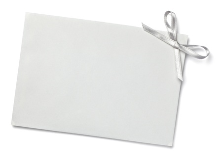 postit: close up of  card note with  ribbon on white background  with clipping path Stock Photo