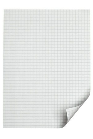close up of  a paper with curled edge on white background photo