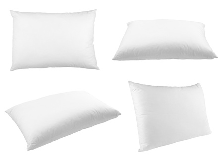 white pillow: collection of  pillows on white background. each one is shot separately Stock Photo