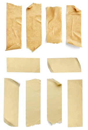 collection of  vaus adhesive tape pieces on  white background. each one is shot separately Stock Photo - 10655301