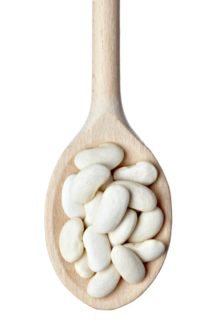 close up of beans in wooden spoon on white background  Stock Photo - 10655244