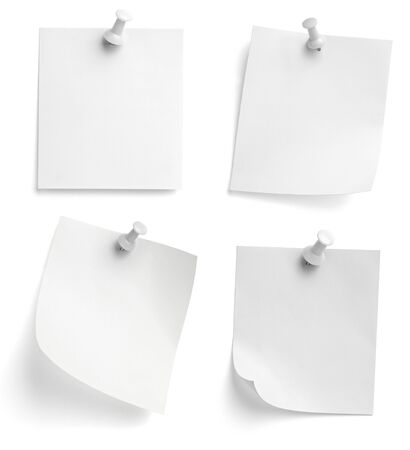 paperclip: collection of various note papers with push pins on white background. each one is shot separately Stock Photo