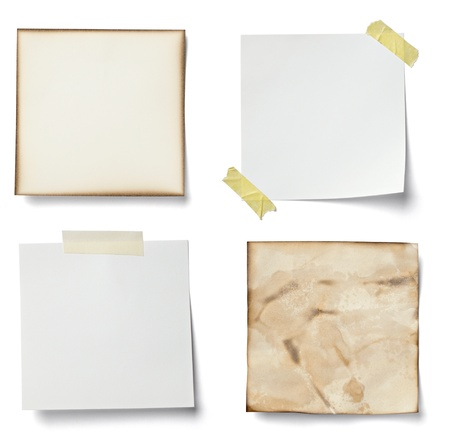binders: collection of various  note papers on white background. each one is shot separately