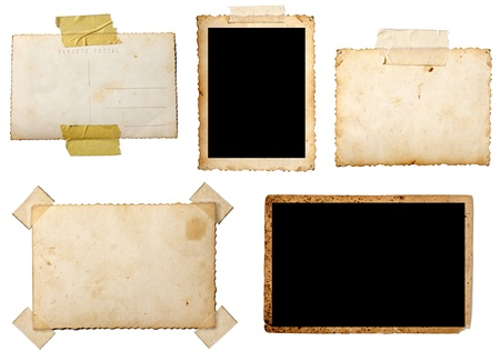 old photograph: collection of various  old photos on white background. each one is shot separately Stock Photo