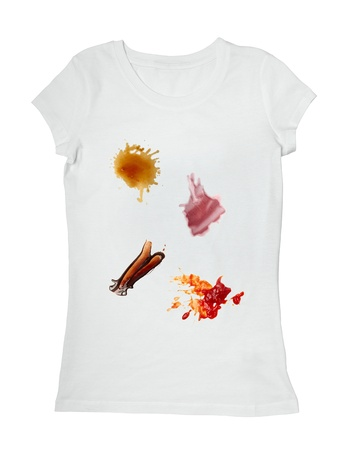 collection of various food stains from ketchup, chocolate, coffee and wine on white t shirt photo