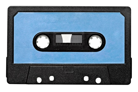 audio cassette: close up of vintage audio tape on white background  Stock Photo
