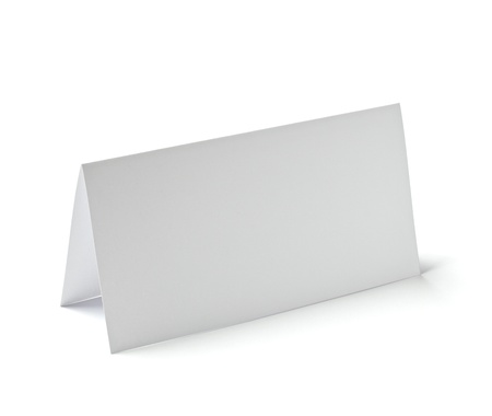 blank note book: close up of  a folded card on white background   Stock Photo