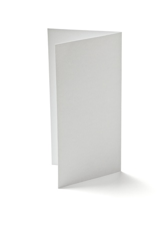 booklet: close up of  a folded card on white background