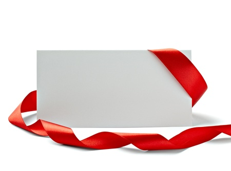 close up of  card note with  ribbon on white background  Stock Photo