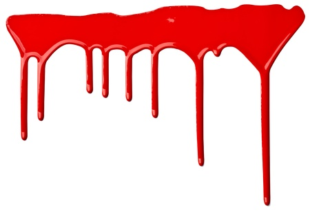 close up of red paint leaking on white background Stock Photo