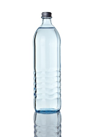 close up of  a water bottle on white background  photo